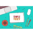 Flat design business office top view desk vector image