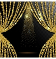 Gold glitter curtain with the light transparent vector image