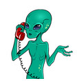 alien speaking on phone pop art vector image