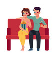 couple seating in cinema movie theatre vector image