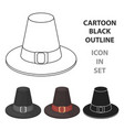 pilgrim hat icon in cartoon style isolated on vector image