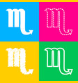 scorpio sign four styles of icon on vector image