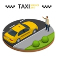 Taxi service 24h concept Young man raising her vector image