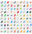 100 photo icons set isometric 3d style vector image