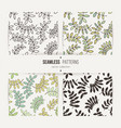 set of seamless patterns from leaves and twigs vector image