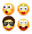 smiley with glassessmiling emoticon yellow face vector image