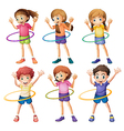 Kids playing hulahoop vector image vector image