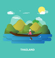 a woman with boat on the river design in vector image