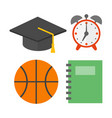 graduation hat and school icons isolated vector image