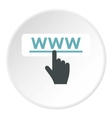 Hand points to WWW icon flat style vector image