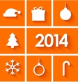 Icons set of new year 2014 on orange background vector image vector image