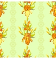 Yellow iris flower seamless pattern background vector image