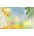 Curtains autumn maple and palm tree vector image