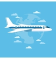 Detailed airplane flying with planet earth vector image