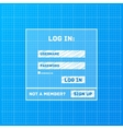 login form on blueprint background vector image