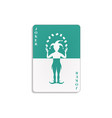 playing card with joker in cyan and white design vector image