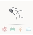 Tennis icon Racket with ball sign vector image