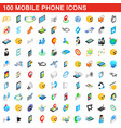 100 mobile phone icons set isometric 3d style vector image