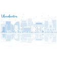 Outline Ulaanbaatar Skyline with Blue Building vector image