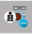 Silhouette programmer working laptop break time vector image