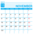 November 2015 calendar page template vector image