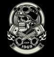 Vintage Biker Skull with Crossed Piston Emblem vector image vector image