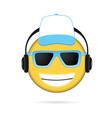 cool emoji listening to music and cap vector image