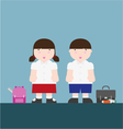 cute big fat boy and girl back to school vector image