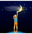 Girl Looking Up at the Moon vector image
