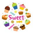 sweet cupcake cartoon vector image