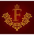 Patterned golden letter F monogram in vintage vector image