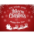 Red christmas background with vector image vector image