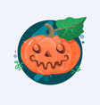 Halloween pumpkin with scary face on white vetor vector image