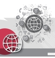 Paper and hand drawn world emblem with icons vector image vector image