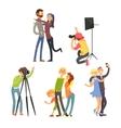 Family Photo in Studio Set vector image