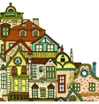 Hand-drawn background with old town vector image