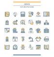 flat line design office icons vector image