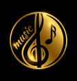 luxury music logo design - golden shiny musical vector image