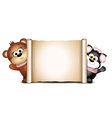 Postcard design template Cute bear and cat on a vector image