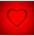 Red heart with shadow valentines day card vector image