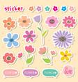 sticker flower cartoon cute color icon vector image