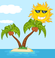 Tropical sun cartoon vector image