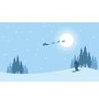 At night train Santa Christmas scenery vector image