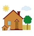 House dog and tree vector image vector image