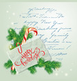 merry christmas and happy new year card with fir vector image