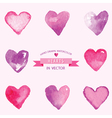 Set of Hearts - hand drawn in Watercolor vector image vector image