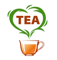logo cup of tea and green heart vector image