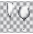 Empty Glass of Champagne and Wine on Transparent vector image
