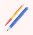 flat shading style icon pen and pencil vector image