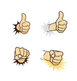 hand sign gesture cartoon theme vector image